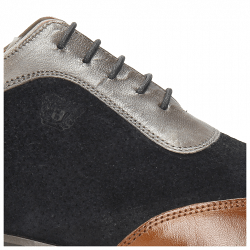 Oxford Schuhe Rico 8 Mid Brown Suede Patinni Perfo Navy Stone
