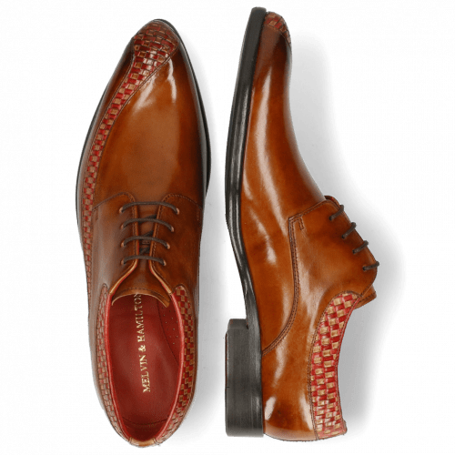 Derby Schuhe Toni 36 Woven Sand Ruby Cognac