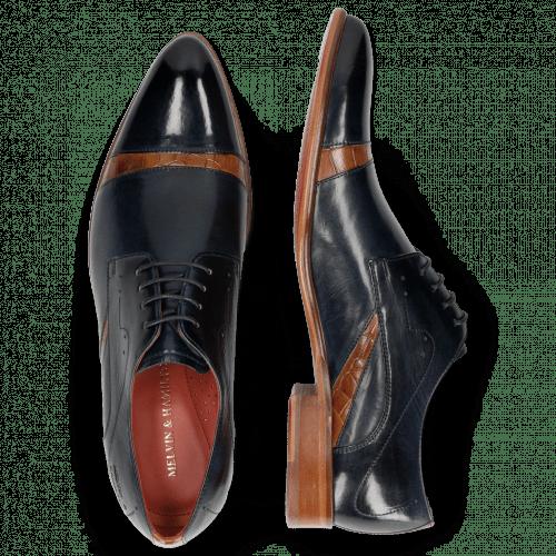 Derby Schuhe Toni 39 Navy Crock Tan