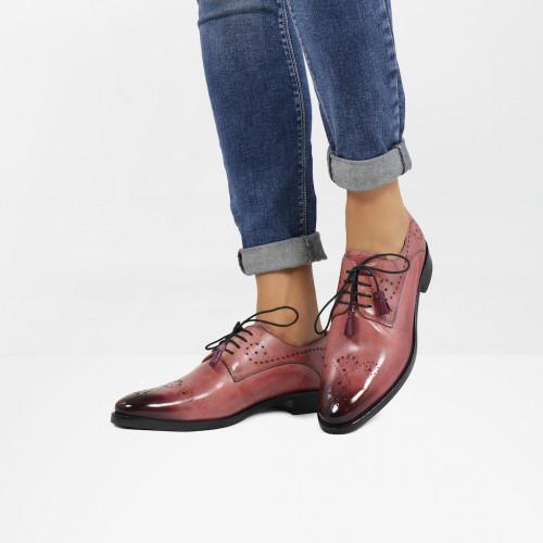 Derby Schuhe Betty 2 Rosa Tassel Lilac