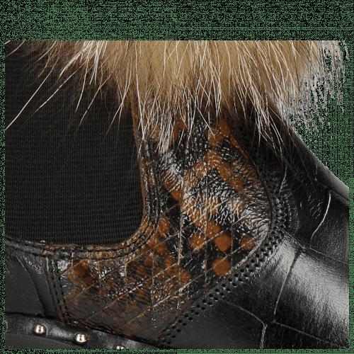 Stiefeletten Sally 114 Turtle Black Python Brown Elastic Black Collar Lionel Fur