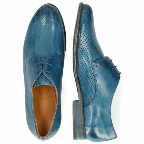 Derby Schuhe Selina 23 Pavia Perfo Bluette