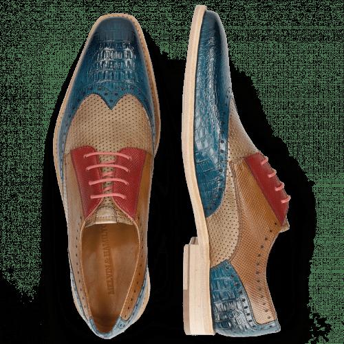 Derby Schuhe Leonardo 20 Baby Croco Mid Blue Perfo Ruby