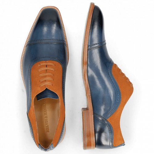 Oxford Schuhe Jacob 2 Navy Suede Pattini Orange