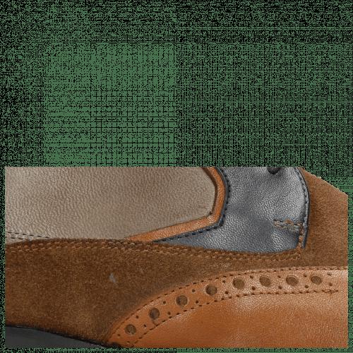 Derby Schuhe Victor 9 Rio Wood Navy Stone Suede Pattini Cognac Textile