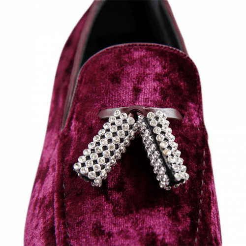 Loafers Claire 10 Velvet Burgundy Tassel Stones HRS