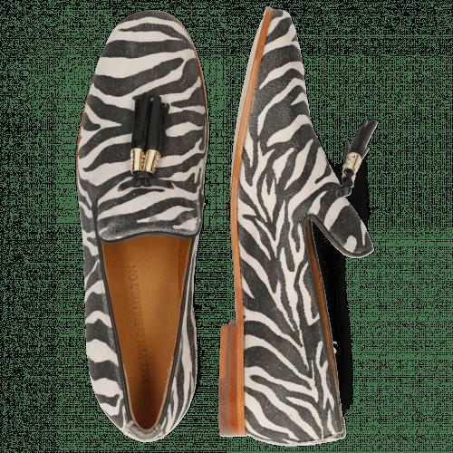 Loafers Scarlett 20 Suede Zebra Off White Tassel