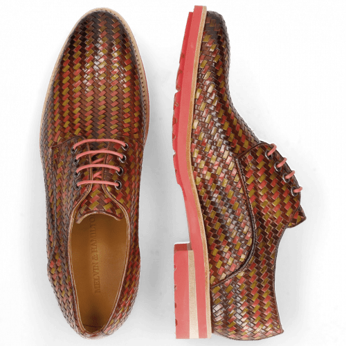 Derby Schuhe Brad 7 New Haring Bone Weave Wood Ruby