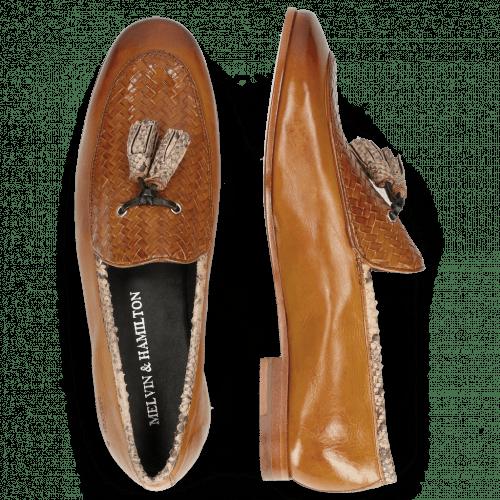 Loafers Scarlett 44 Nappa Glove Camel Weave Tan Snake