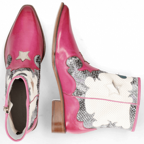 Stiefeletten Marlin 12 Vegas Dark Pink Snake Multi Perfo White