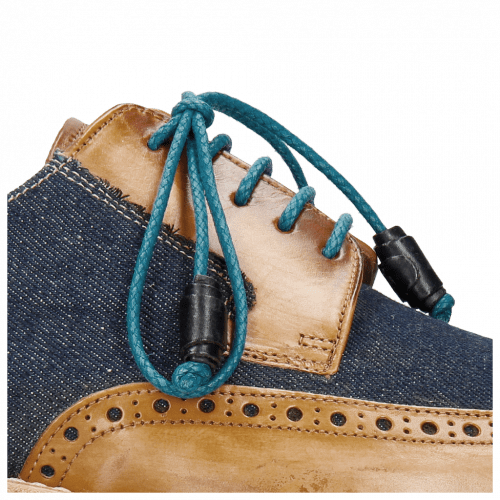 Derby Schuhe Marvin 13 Tan Denim Blue Modica