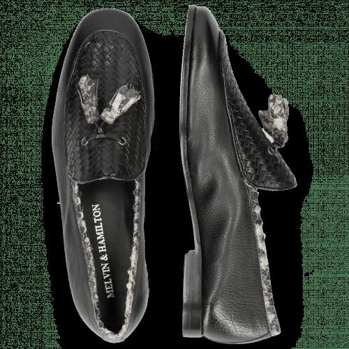 Loafers Scarlett 44 Nappa Glove Black Weave Black Snake