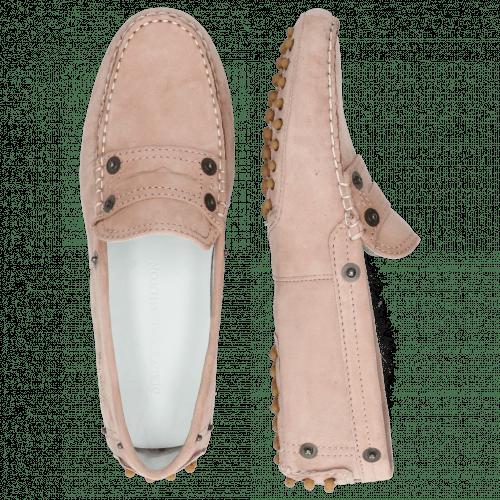 Loafers Caroline 1 Goat Suede Rose Dots