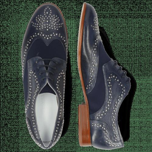 Derby Schuhe Sally 53 Venice Navy Lycra Navy
