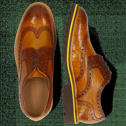Derby Schuhe Matthew 33 Crock Indy Yellow Dice Mid Brown Lizzard