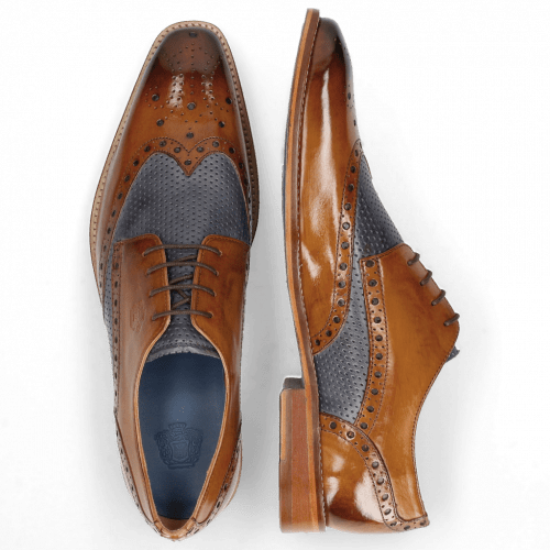 Derby Schuhe Martin 15 Berlin Tan Perfo Navy Lining Textile