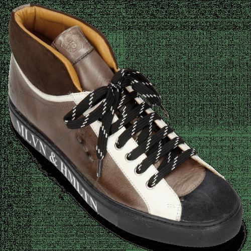 Sneakers Harvey 13 Suede Pattini Navy Brown Stone Vegas White