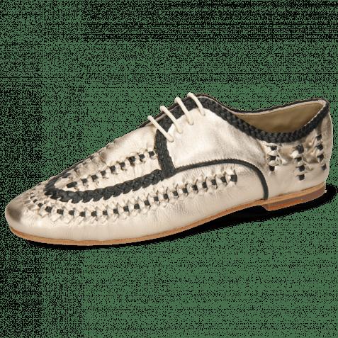 Derby Schuhe Aviana 2 Nude Gold Nappa Interlaced Black