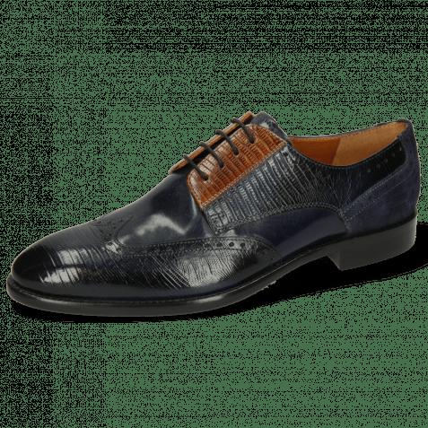 Derby Schuhe Bobby 1 Guana Navy Cognac Night Blue