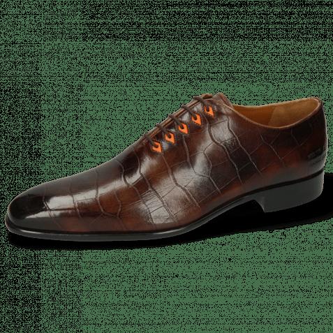 Oxford Schuhe Lance 28 Big Croco Mid Brown Eyelet Fluo Orange