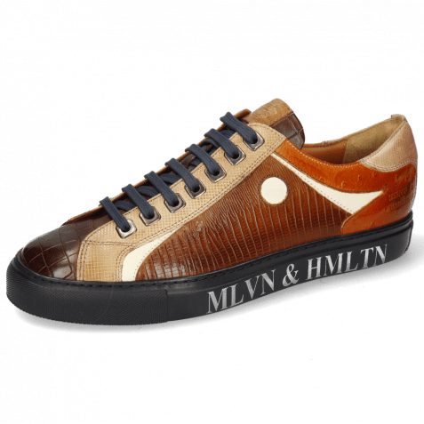 Sneakers Harvey 9 Crock Mid Brown Dice Sand Guanna Wood Ostrich Cappuccino