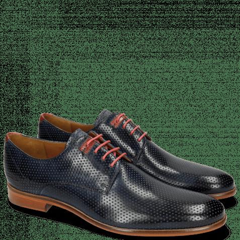Derby Schuhe Clint 1 Perfo Navy Decor Piece Ruby