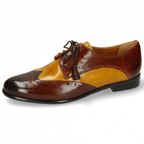 Derby Schuhe Selina 41 Mid Brown Indy Yellow