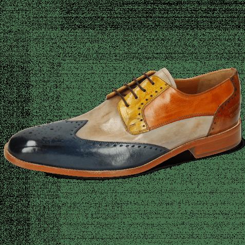 Derby Schuhe Jeff 14 Mock Navy Digital Sun Arancio Tan