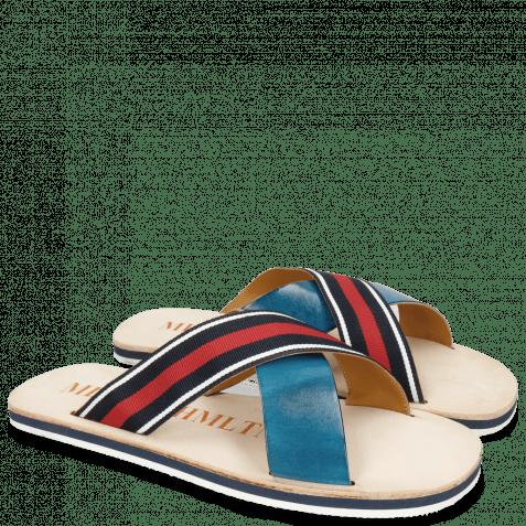 Pantoletten Sam 5 Mid Blue Strap Red Blue White