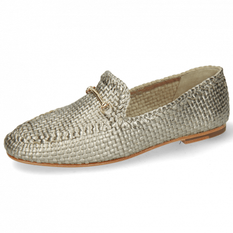 Loafers Aviana 1 Woven Pewter Trim Gold