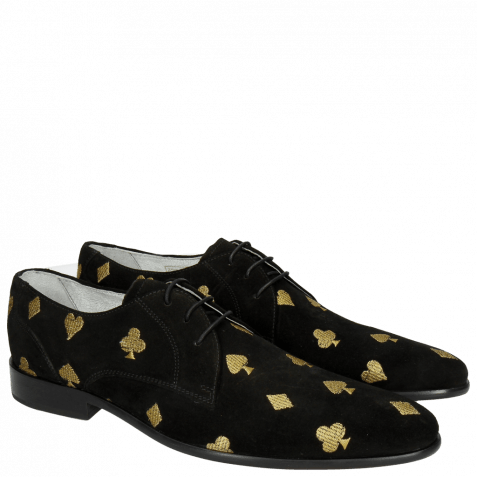 Derby Schuhe Toni 1 Suede Black Embroidery Heartpeak