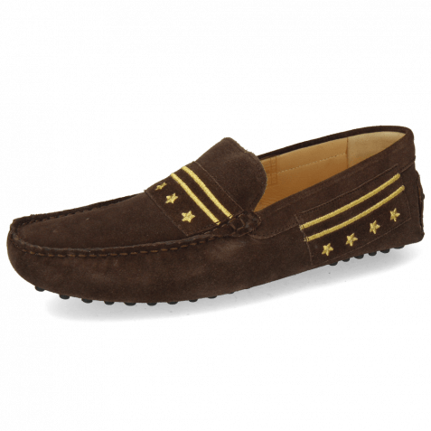 Loafers Nelson 9 Suede Pattini Dark Brown Embroidery Gold