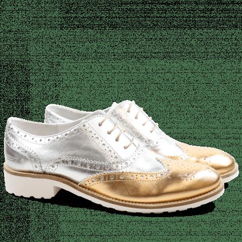 Oxford Schuhe Ella 22 Laminato Gold Silver Rook D White