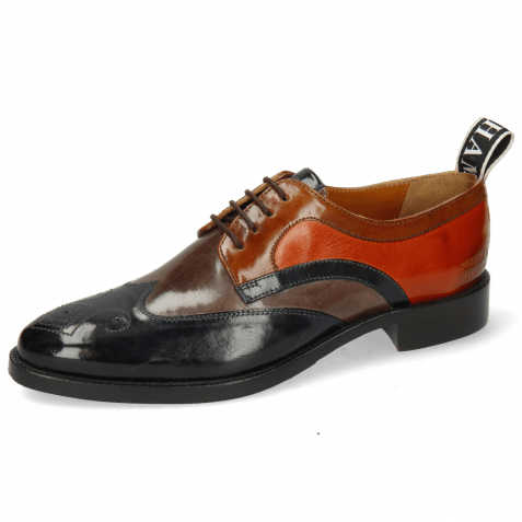 Derby Schuhe Betty 16 Navy Deep Steel Wood Winter Orange