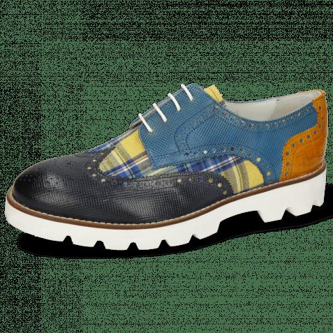 Derby Schuhe Matthew 29 Dice Navy Tex Check Tropical Bluette Crock Yellow