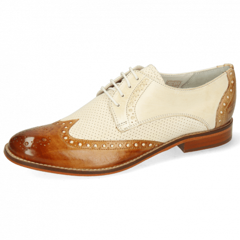 Derby Schuhe Amelie 3 Vegas Tan Nude Sand Vegas Perfo White