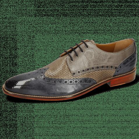 Derby Schuhe Martin 15 Berlin Moroccan Blue Perfo Stone