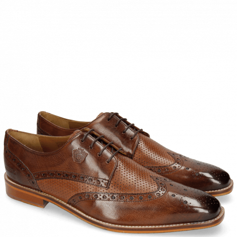 Derby Schuhe Martin 15 Berlin Mid Brown Perfo Wood