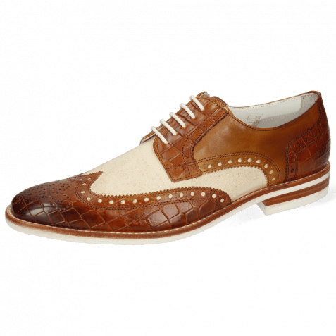 Derby Schuhe Barry 1 Vegas Crock Tan Canvas Off White