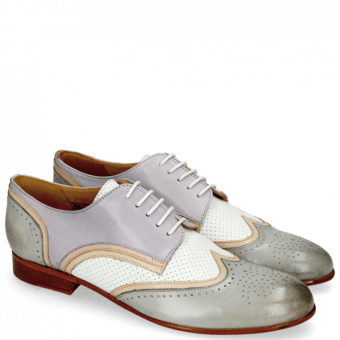 Derby Schuhe Sally 15  Salerno French Grey Nude Nappa Perfo White Lavender