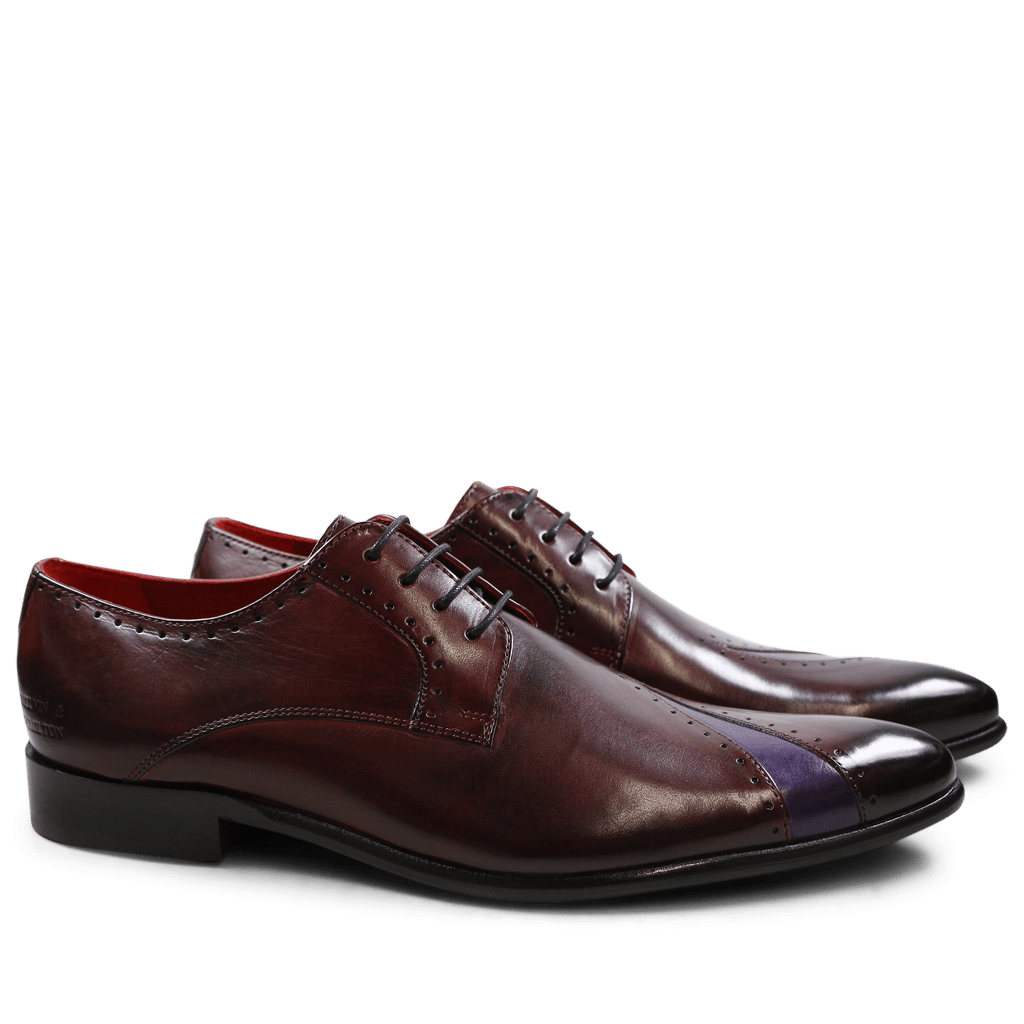 Derby Schuhe Toni 8 Burgundy Purple Flame