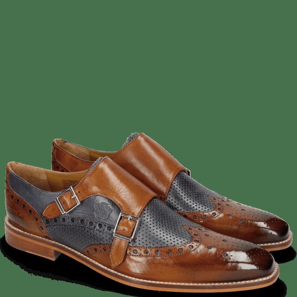 Monk Schuhe Martin 2 Berlin Tan Perfo Navy