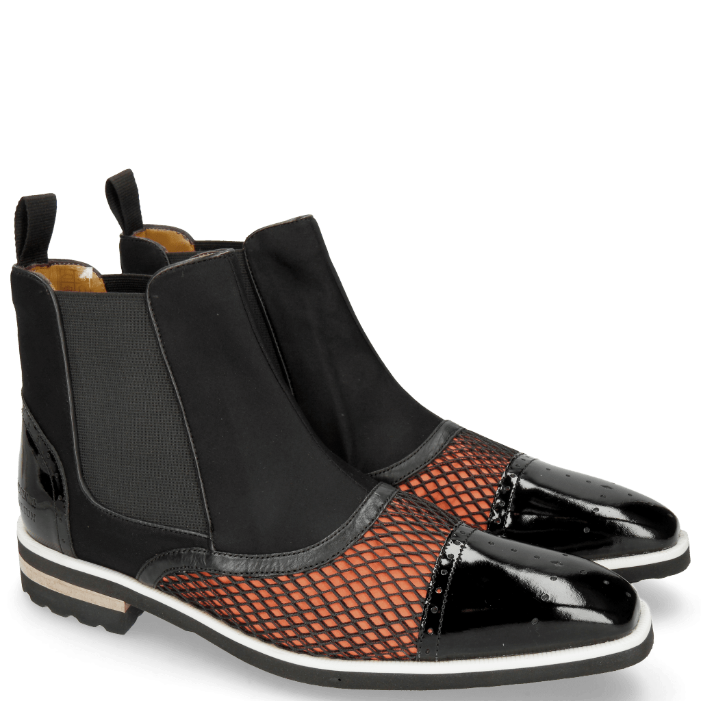 Stiefeletten Lance 22 Patent Net Black Lycra Orange