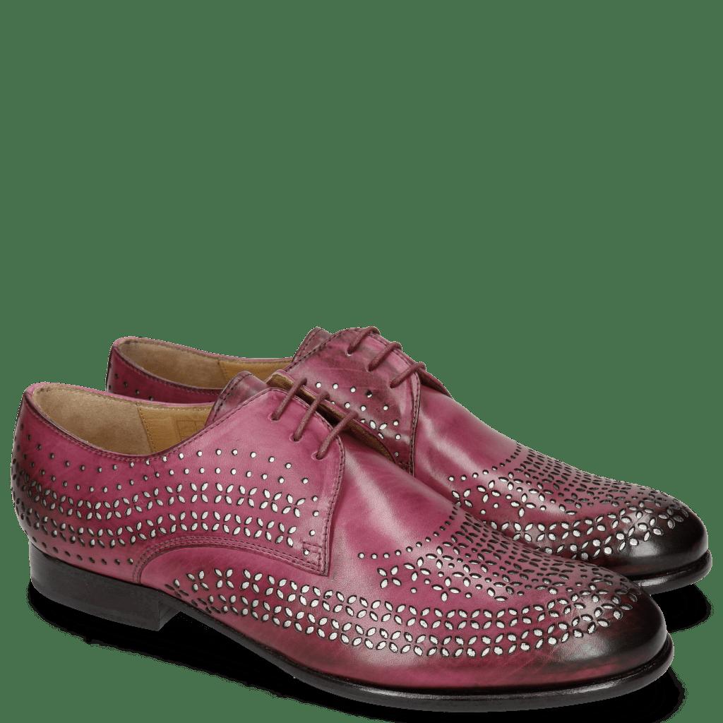 Derby Schuhe Sally 82 Dark Pink Lasercut Feather