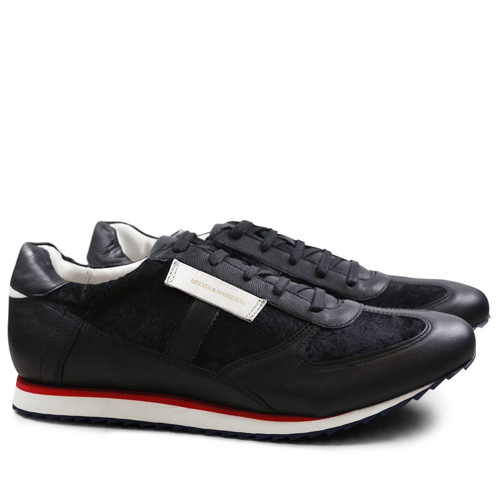 Sneakers Neal 1 Velvet Nappa Black Strap White Rubber Navy EVA White Red