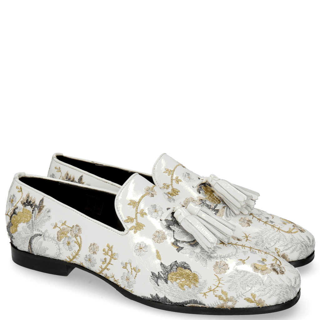 Loafers Clive 6 Soft Patent White Embrodery Multi