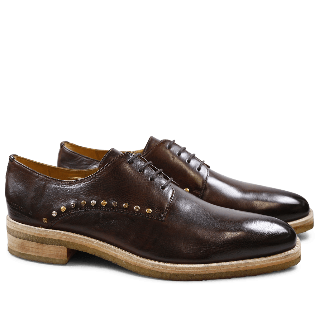 Derby Schuhe Tom 8 Milano Mid Brown Mixed Rivets Crepe Natural