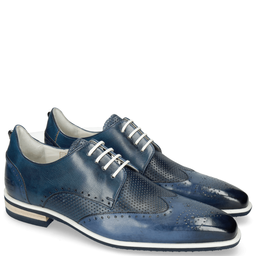 Derby Schuhe Dave 2 Tough Vegas Nappa Navy Glove Perfo