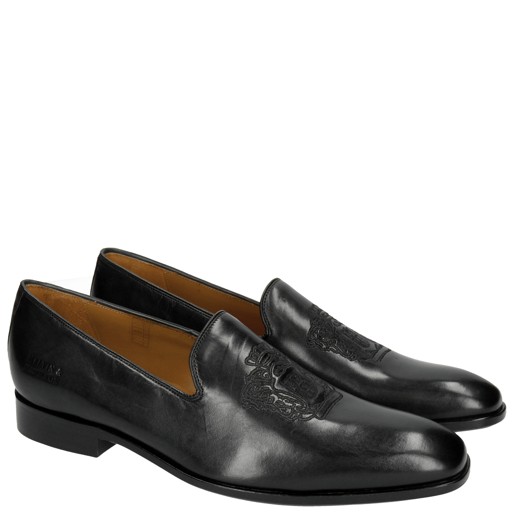 Loafers Prince 2 Black Embrodery Black