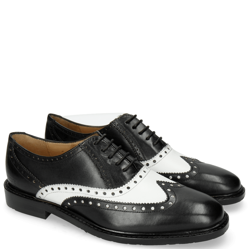 Oxford Schuhe Katrin 4 Black Nappa White M&H Rubber Black